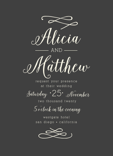 Breathtaking meets simple elegance in the Whimsical Calligraphy Wedding Invitations.