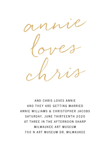 Simply chic is the best way to describe the Brush Script Foil Wedding Invitations.