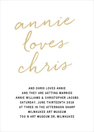 Brush Script Foil Wedding Invitations