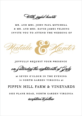 Breathtaking meets simple elegance in the traditional Ampersand Foil Wedding Invitation.