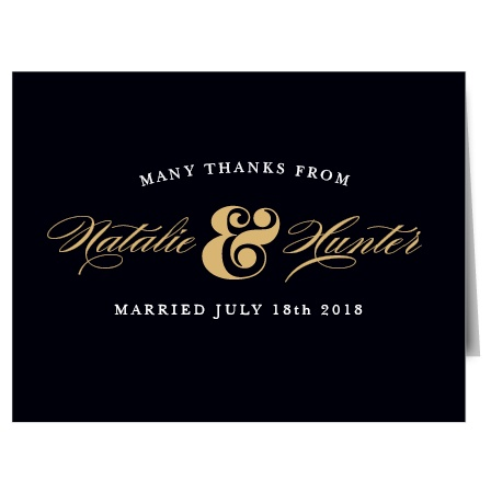 Nothing means more to your wedding guests than expressing your gratitude, and there's no more elegant way to do so than with the Ampersand Foil Thank You Cards! Personalize your cards, then deliver personal notes of thanks to your guests. Finally, a thank you card that is as classy as you!