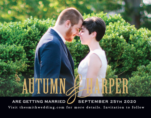 The Antique Elegance Foil Save The Date is all about your love with its bold font adding contrast to your gorgeous picture. Its the perfect way to deliver your important information!