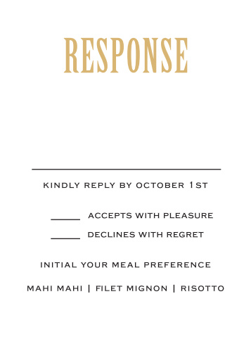 Obtain your guest answer with the Antique Elegance Foil response card.