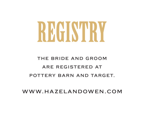 To match the rest of the Antique Elegance Foil Wedding Suite, customize these simple registry cards.