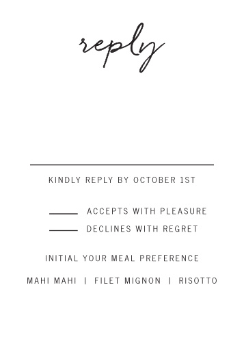 Customize the Brush Script Foil Response card for the perfect way to ask your guests for their response.