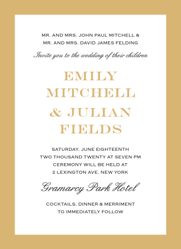The Classic Border Foil Wedding Invitation delivers refined elegance with bold lines and clean spacing.