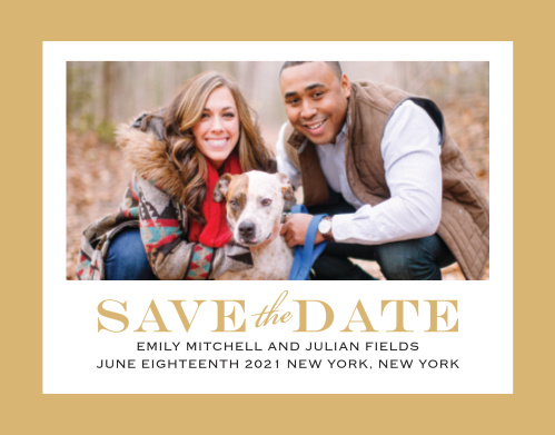 With its bold border the Classic Border Foil Save The Date is an eye-catching way to share your information with your loved ones. The striking border is the perfect compliment to your picture.