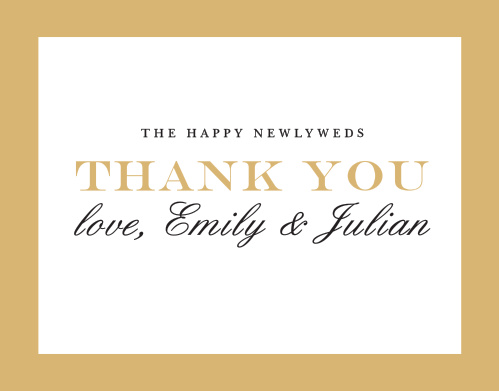Expressing your gratitude is one of the most important aspects of a wedding. While it may not seem much, it will leave a lasting impression on your guests, so make sure you do it right with the Classic Border Foil Thank You Cards! Designed to match the similarly-named invitation suite, these cards can be customized to fit your theme.