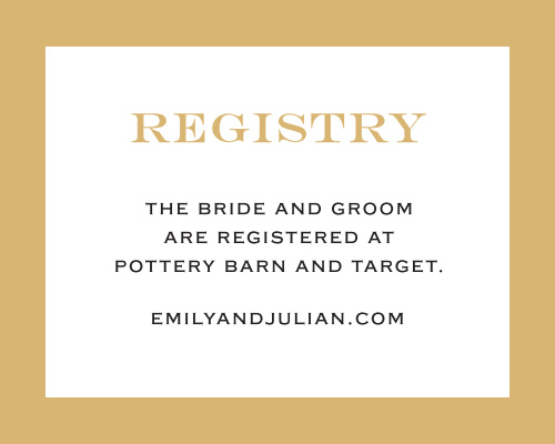 The same clean text and strong lines are featured in this beautiful Classic Border Foil Registry Card as in the matching suite. Personalize it to your liking to share where you're registered with your guests.