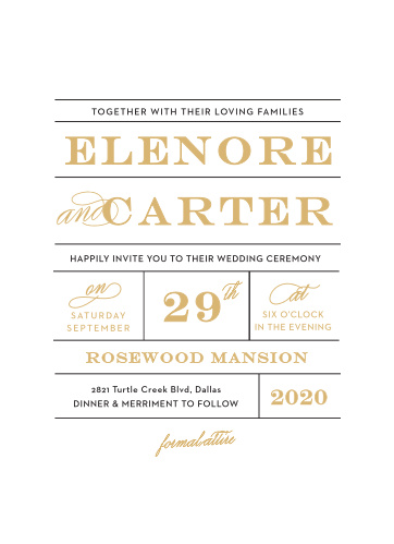 The Vintage Ticket Foil Wedding Invitations combines fun typographic elements to create cards reminiscent of an old-time train ticket.