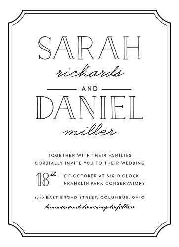 The charming simplicity of the Type Frame Foil Wedding Invitations are what makes these typographic cards a fun yet sophisticated choice for your event.