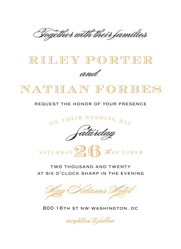 Typographic finesse makes the Traditional Sophistication Foil Wedding Invitations a design brimming with poise and refinement.