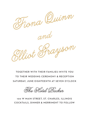 Dainty and refined, the Sweetheart Script Foil Wedding Invitations are a charming typographic design featuring an elegant script font.