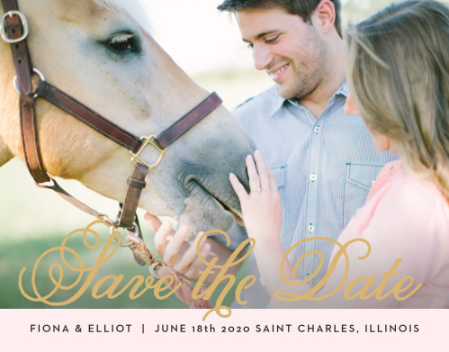 The Sweetheart Script Foil Save The Date is a sophisticated way to share your important date with your family and friends. With beautiful script to go with your amazing picture this card is the perfect decision. Customize the colors, text and font to show off your personality.