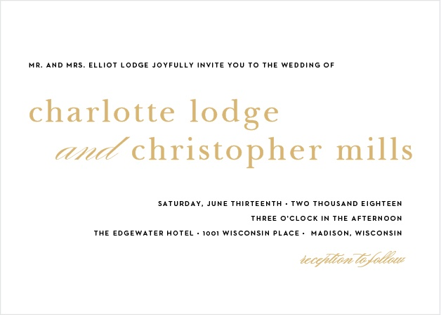 A sleek design makes the Sophisticated Typography Foil Wedding Invitations a modern and elegant choice for announcing your special occasion to friends and family.