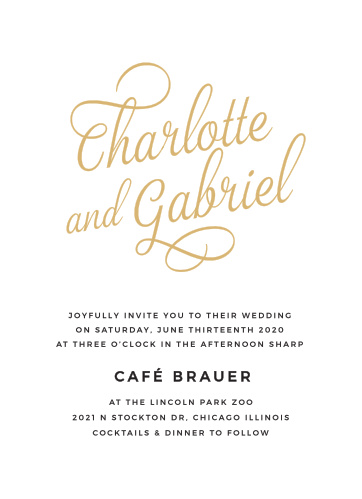 The Script Emblem Foil Wedding Invitations are a charming example of typography at its best.
