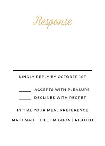 The Script Emblem Foil response card is the perfect addition to your invitation.