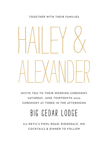 Bold contrast and whimsical font choices make the Rustic Type Foil Wedding Invitation a fun design full of life.