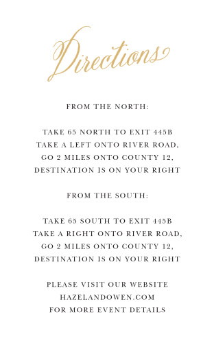 Simple yet beautiful, the Romantic Calligraphy Foil Directions Cards will help your guests make it to your wedding destination without difficulty.