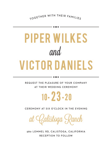 Add a bit of dramatic flair to your event with the Playbill Foil Wedding Invitation.