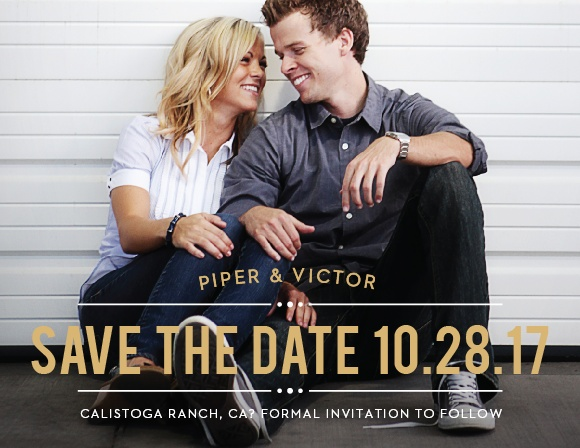 The Playbill Foil Save The Date is a great way to share your information with your family and friends. The rustic text banner is the perfect compliment to your picture.
