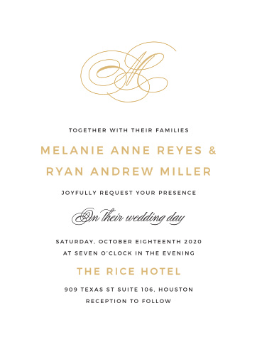 Refinement is the message you'll send with the Charmed Monogram Foil Wedding Invitations.