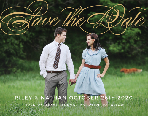 The Charmed Monogram Foil Save The Date features classic font to compliment your beautiful picture. This card is a sophisticated way to tell all your friends and family all your important info. Customize the colors, font and text to make this card complete!