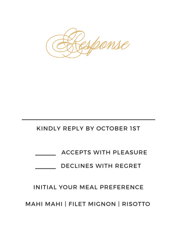 The Charmed Monogram Foil RSVP card compliments the rest of your invitation suite perfectly! With the script font and simple design your guests will be anxious to respond! Change the text, font and color to compliment your big day.