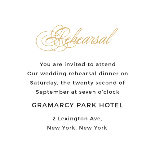 Ensure that all the proper guests arrive at your ceremony or rehearsal on time with the Charmed Monogram Foil Ceremony Cards.