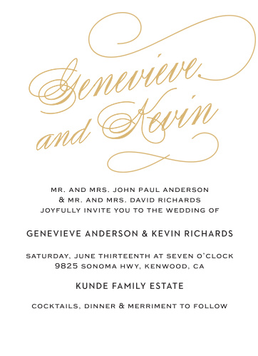 Wow your guest list with the Glamorous Typography Foil Wedding Invitations.