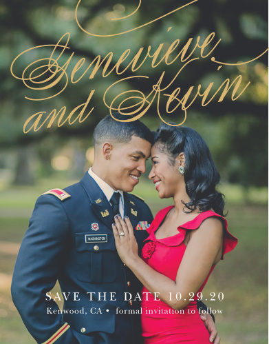 The Glamorous Typography Foil Save-the-Date card is sure to be a hit with your guests. Putting your picture at the focus will charm your guests and excite them to attend your big day!