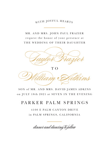 Elegant Vintage Foil Portrait Wedding Invitations