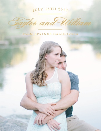 What better way to delight your guests then a photo of you and your significant other at the center of your save-the-date? Your beautiful photo paired with the clean font will keep things simple yet significant.