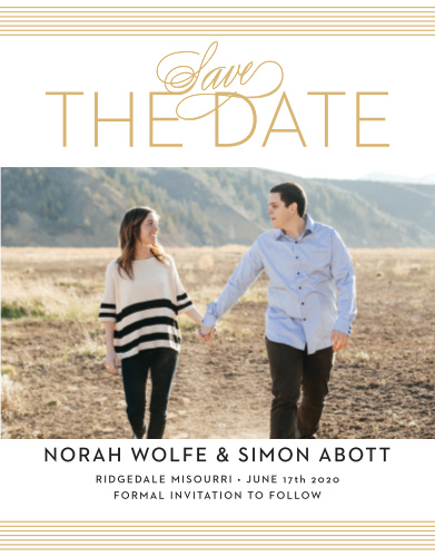 The Deco Type Foil Save-the-Date card gives your a card a fresh look. With the simple lines and the sleek font you can announce the date of your wedding to all your family and friends!