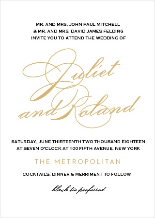 Clean lines and an elegant typeface make the Classic Script Foil Wedding Invitations stand out among announcements.