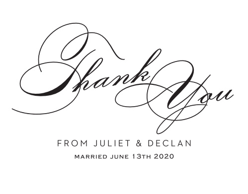 Just as important as inviting your guests is thanking them for coming, so do so with style by using the Classic Script Foil Thank You Cards.