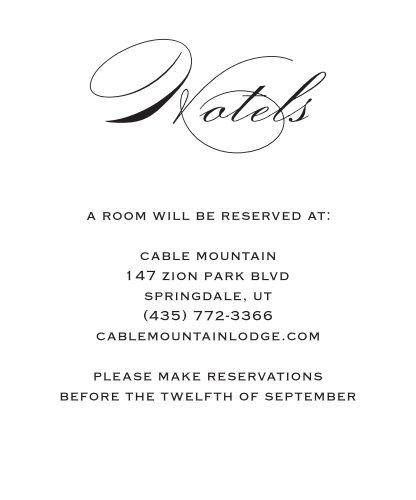 The Classic Script Foil Accommodation Cards is a gorgeous way to help your guests plan for your wedding destination without difficulty. Customize this card with your preferred colors and fonts to make your unique and unforgettable invitation.