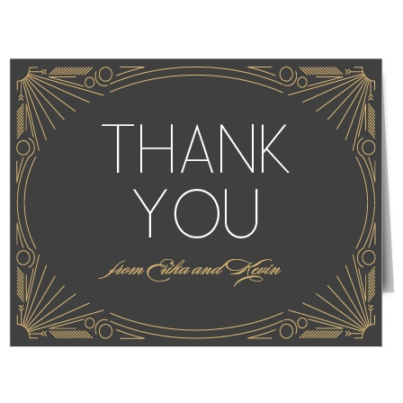 Express the most profound gratitude with the decorative Framed Art Deco Foil Thank You card. Customize all the colors and fonts perfectly to your liking!