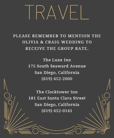 Make things too easy for your guests by providing them with this fully customizable Accommodation card from the Framed Art Deco Foil Invitation Suite.