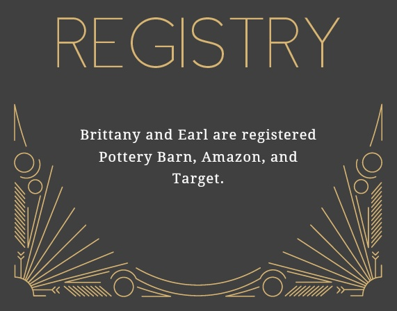Let your guests know where you are registered at with this 'great gatsby' registry card that matches the entire Framed Art Deco Foil Wedding Invitation Suite.