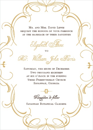 The Flourish Charm Foil is an elegant and formal wedding invitation.