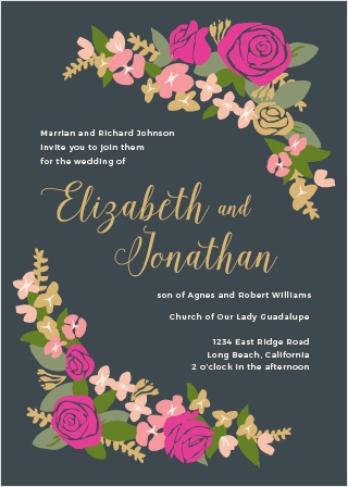 Your guests will be delighted when they receive The Illustrated Corner Wreath Invitation. A beautiful simple illustration of wreath accents adorn each corner, and all of your important information fills in the rest.