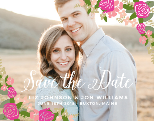 The Illustrated Corner Wreath Foil Save-the-Date Magnet gives your a card a fresh look. With the simple flowers can announce the date of your wedding to all your family and friends!