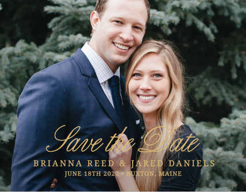 The Modern Forever Foil Save-the-Date Magnet gives your a card a fresh look. Add some extra class by making the text foil! Upload a picture of you and your partner to make this the perfect save-the-date for your wedding.