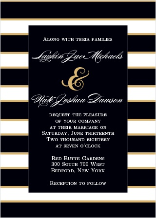 Add some sparkle to your wedding invitations with the Elegant Gold Stripes. Customize the colors and fonts to make your announcements truly one of a kind.