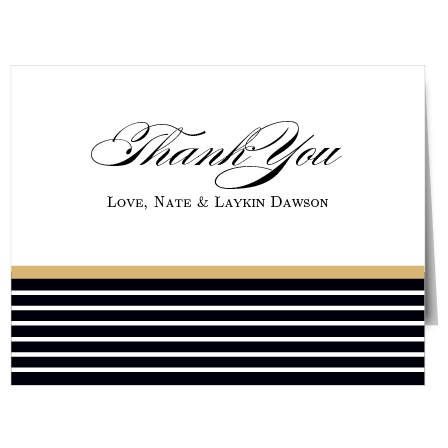 Add a little sparkle to your gratitude with the The Elegant Foil Stripes Thank You card. Customize all the colors and fonts perfectly to your liking!