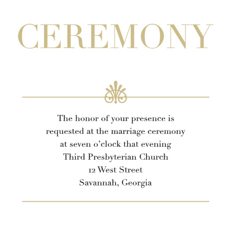 The Glamorous Standard Foil Ceremony Cards are the perfect way to invite the most important guests to be at your wedding ceremony.