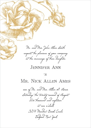 A simple rose in gold comes together to make the perfect wedding invitation with the Illustrated Rose Foil Wedding Invitation. Customize the fonts and text to make the perfect elegant, high-class wedding suite.