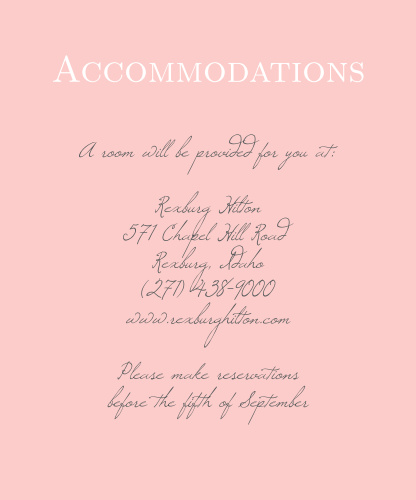 Many of your guests will travel a long distance to be at your big event, so make sure they know the best places to stay and how to travel to be at your wedding with the Illustrated Rose Foil Accommodation Cards!