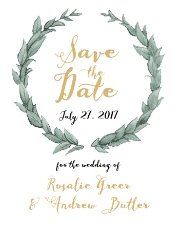 The Leafy Love Foil Save-the-Date Card is a beautiful foil-accented reminder of when your wedding is.